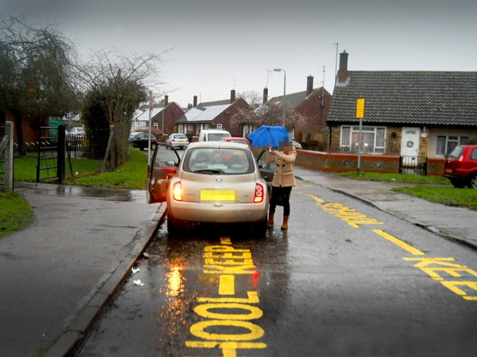 Car parked on school markings during restricted hours